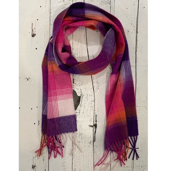 Charter Club pink/purple plaid cashmere scarf